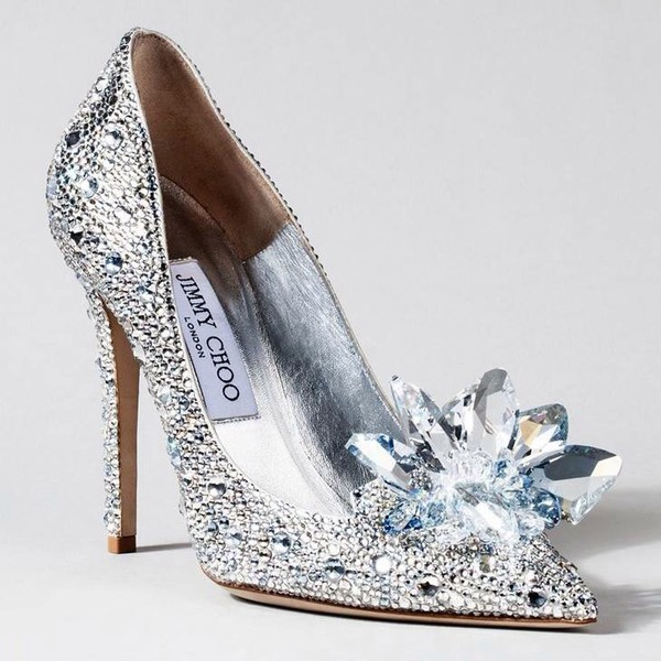 Crystal Covered Pointy Toe Pump Cinderella Slipper
