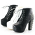 Womens Platform Pumps Lace Up Stud Spike Punk Block High Heels Ankle Boots Shoes