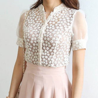blouse mesh ishopcandy floral daisy daisies daisy top see-through button down