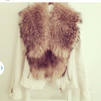 jacket fur leather leather jacket fur collar white zara