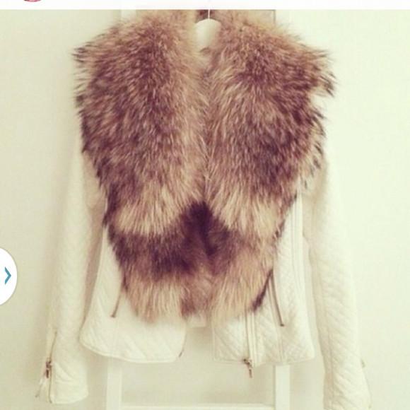 jacket zara fur leather leather jacket fur collar white