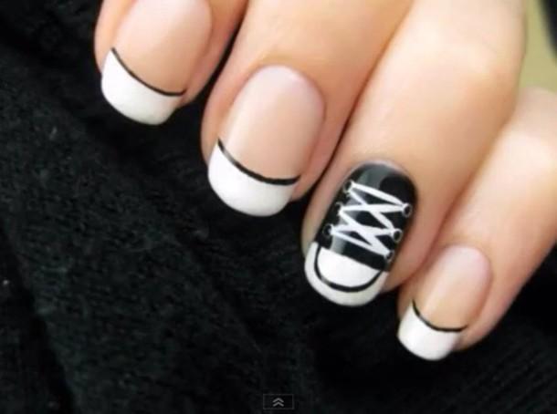 nail polish black white