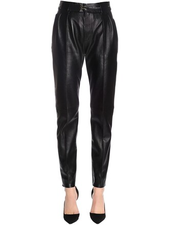 pants leather pants soft leather black