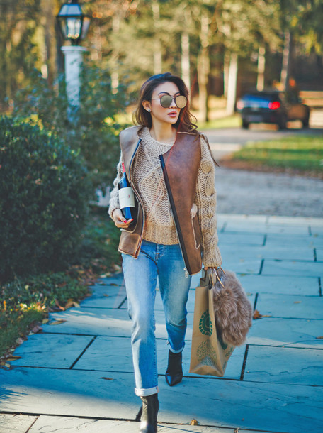 jacket tumblr vest leather vest sweater knit knitwear knitted sweater cable knit denim jeans blue jeans boots black boots sunglasses
