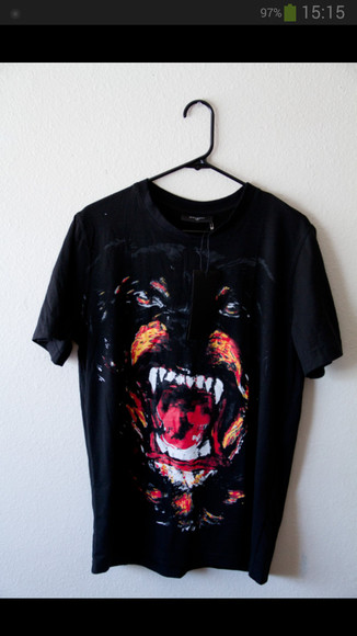 dog black t-shirt fangs