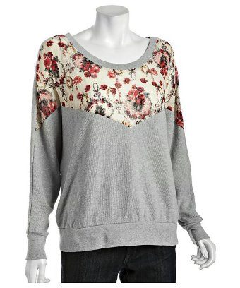 Free People heather grey cotton blend floral lace sweatshirt | BLUEFLY up to 70% off designer brands