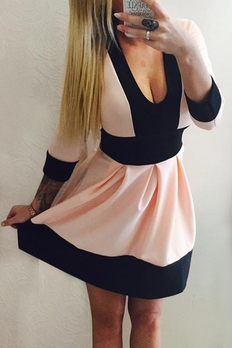 dress pink black fall outfits pretty girly cute summer long sleeves feminine adorable outfit fashion style cleavage sexy midi dress clothes