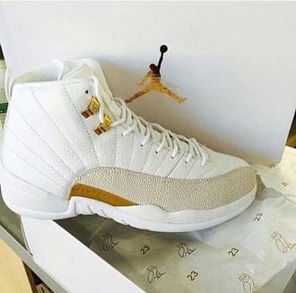 shoes white grey jordan 12s jordans white and gold air jordan 12