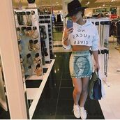 skirt,dollar,money,$100,100,crystal westbrooks,shoes,shirt,short skirt,dope,green skirt,dope skirt