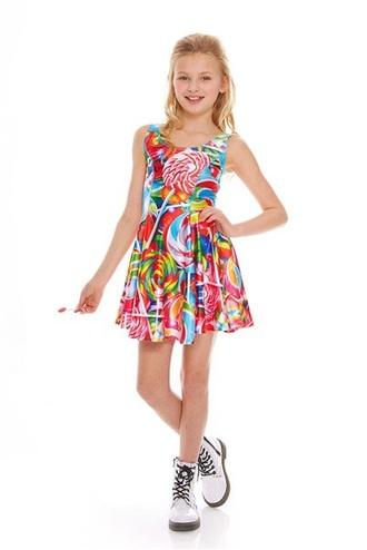 dress lollipops printed dress girly dress skater dress sleeveless dress