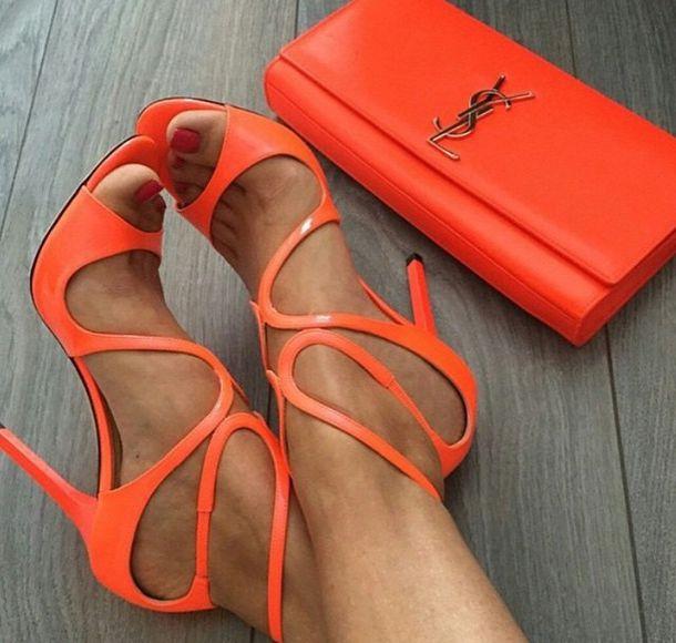 Shoes: heels, orange, orangeheels, ysl, high heels, bag ...