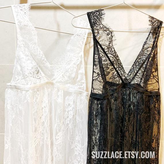 Bridal Lingerie, Floral Lace Slip Dress, Scalloped Lace See Through Intimates, Boho Wedding Gift, Sexy Nightwear, Honeymoon Sleepwear, Robe