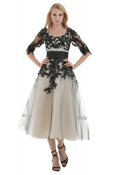 Mid Sleeves Bridesmaid Dress Tee Length Bridesmaid Dress Tee