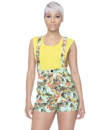 suspender shorts tropical print shorts green green shorts suspenders tropical