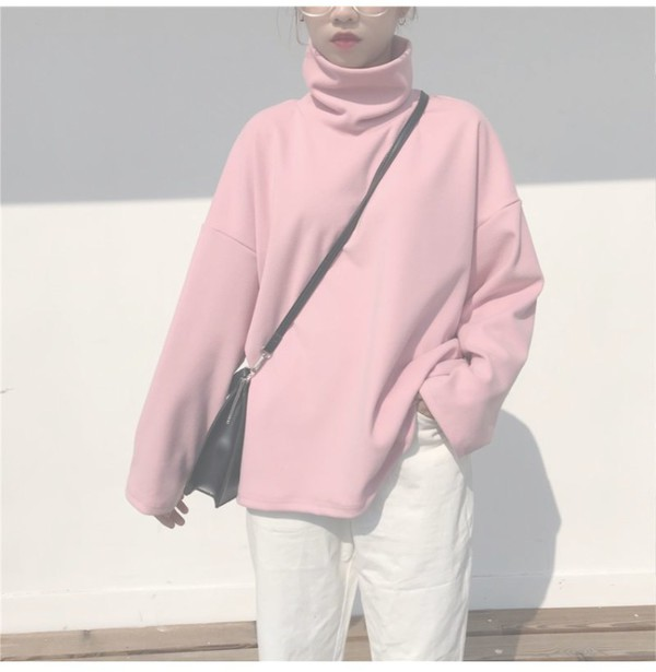 sweater girly pink sweatshirt jumper tumblr cute high neck