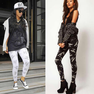 leggings american apparel rihanna eagle boy printed leggings women punk rock black white legging
