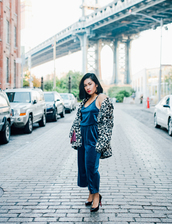 mimi & chichi blog,blogger,jumpsuit,coat,bag,shoes,pumps,blue jumpsuit,winter outfits