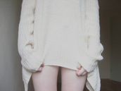 sweater,knitted sweater,white,cream,pale,vintage,asymmetrical,cute