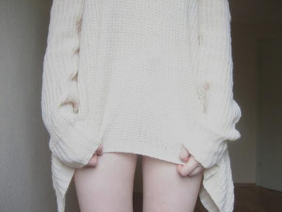 asymmetrical cute white sweater knit sweater cream pale vintage