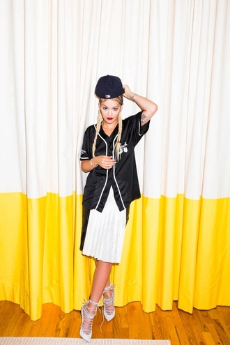 shoes rita ora snapback jersey baseball jersey baseball top top t-shirt plaids heels high heels lace up white skirt skirt black top lace up heels grey heels cardigan strappy heels