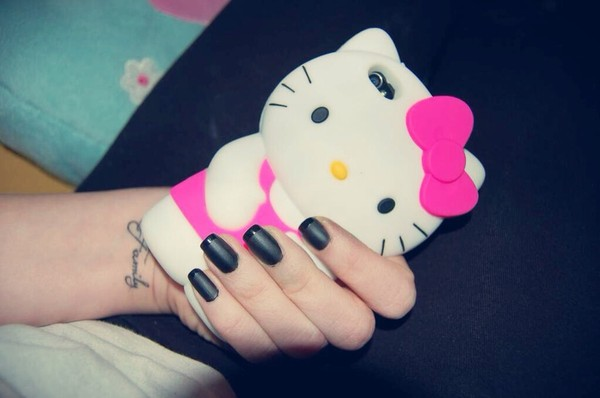 belt hello kitty pink iphone case phone cover nails nail art girly iphone cover iphone nail polish