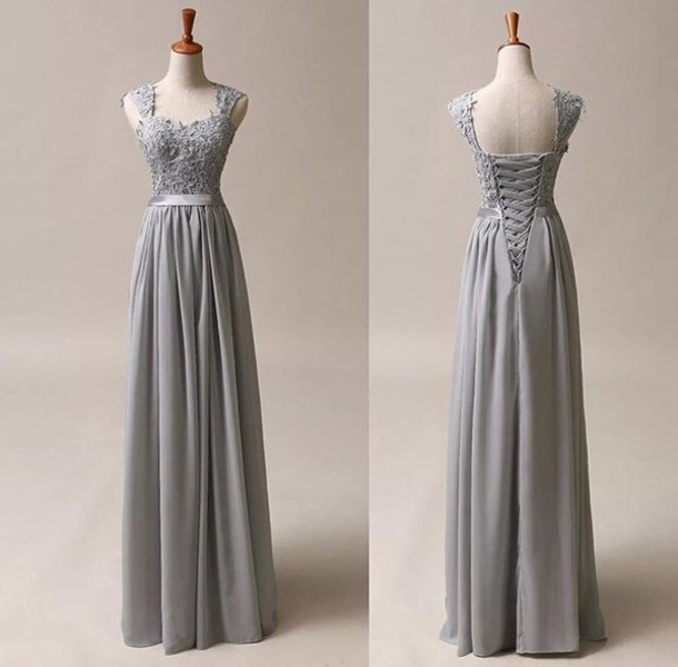 Dress: grey dress, prom, prom dress, prom gown, grey prom dress ...