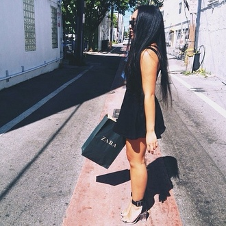 shoes zara little black dress black black skater dress black shoes transparent transparent shoes black sunglasses glasses dress