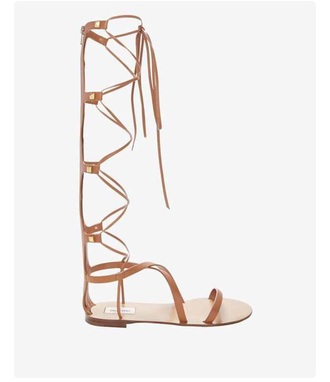 shoes nude gladiator knee high sandals