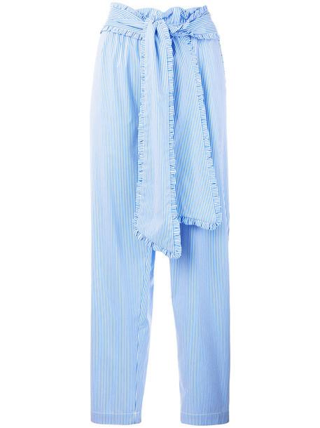 MSGM women spandex cotton blue pants