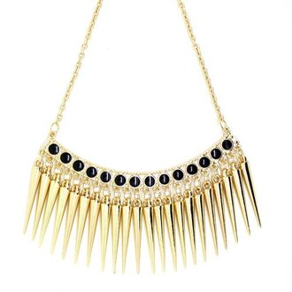 jewels necklace gold spike rivets black dots