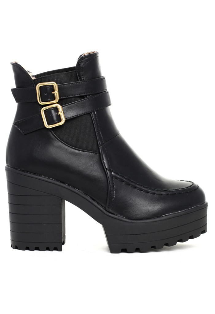 Slip-on Buckled Chunky Platform Boots - Retro, Indie and Unique Fashion