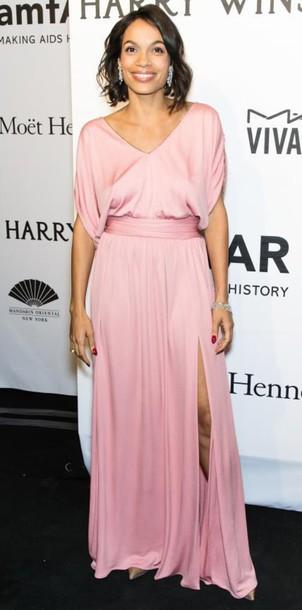 dress gown maxi dress rosario dawson pink