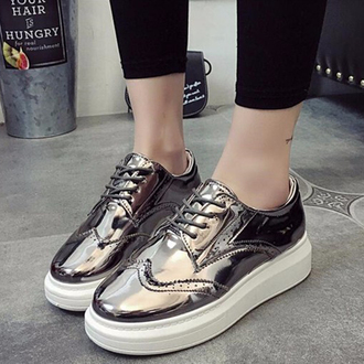 shoes cool fashion style silver metallic sneakers teenagers boogzel