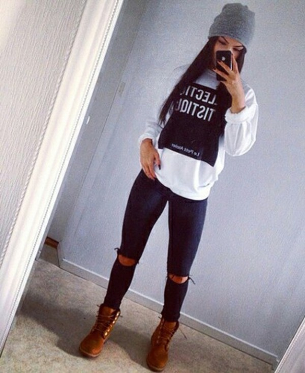 jeans blouse top sweatshirt timberlands socks t-shirt sweater white top blogger celebrity style ripped jeans chanel t-shirt hat shirt leggings shoes outfit white long sleeve graphic white white long sleeves top