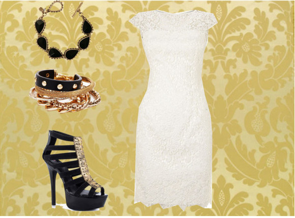 dress outfit lace gold chains white white lace dress cream studs black heels gold stud heels black bracelets glamour classy party jewels shiny beautiful gorgeous