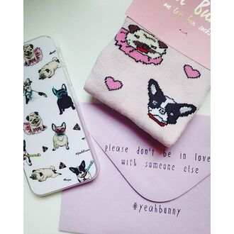 socks yeah bunny pink pastel dog dog print pugs frenchie kiss girly