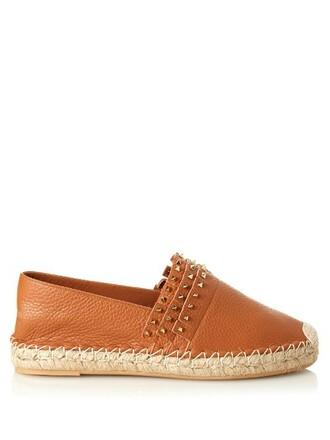 espadrilles leather tan shoes