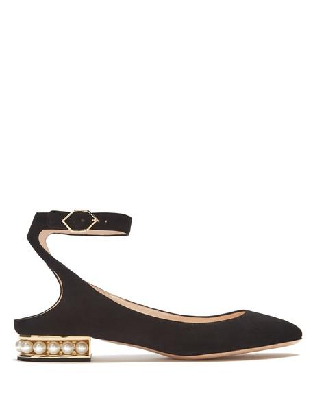 Nicholas Kirkwood ballet pearl flats ballet flats suede black shoes