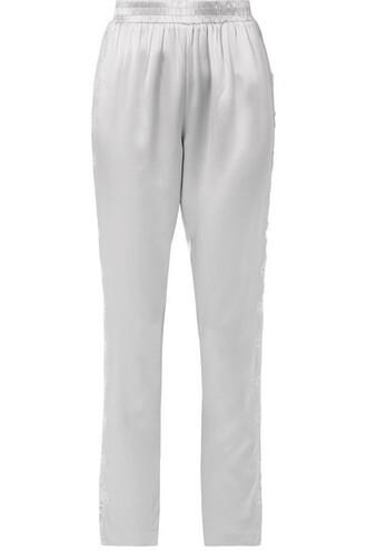 pants pajama pants lace silk satin