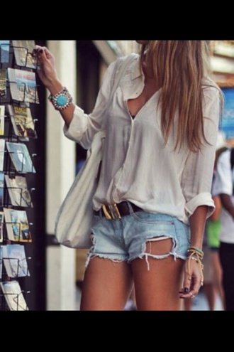 shorts ripped shorts jeans blouse jewlery belt bag jewels