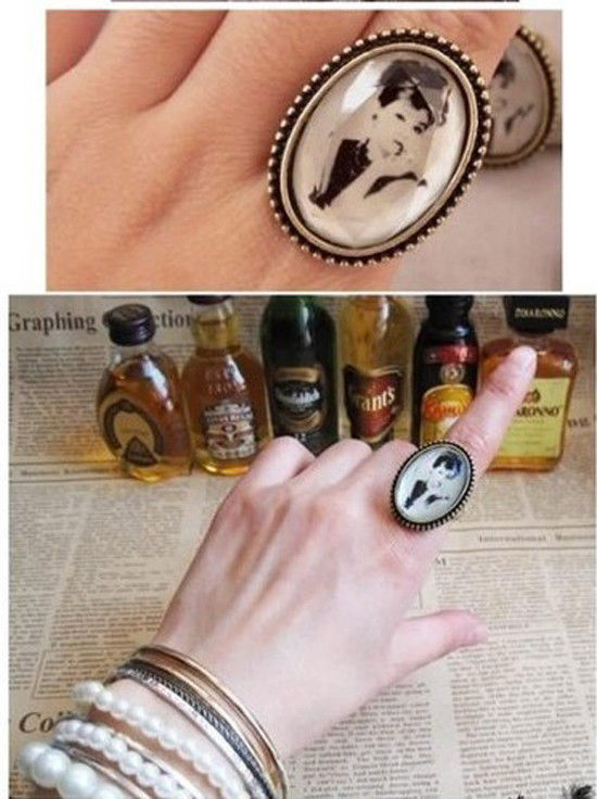 New fashion elegant adjustable vintage retro resin audrey hepburn ring r389