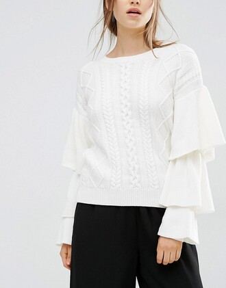 sweater white white sweater ruffle sweater knitted sweater fall outfits back to school