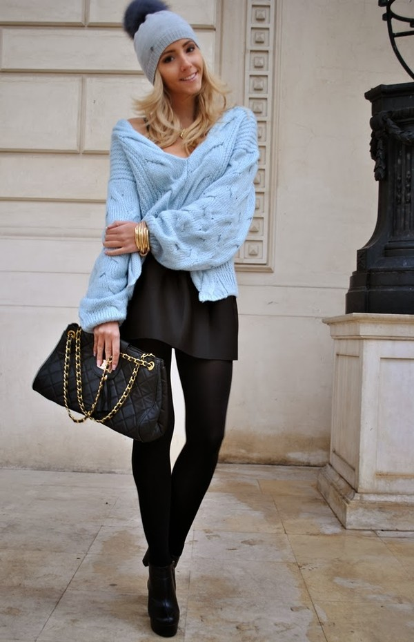let's talk about fashion ! sweater skirt shoes bag jewels