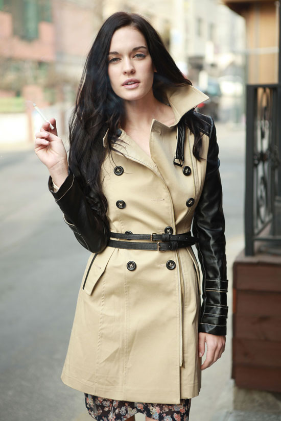 Misty contrast faux leather sleeve biker trench coat [as seen on chiara]