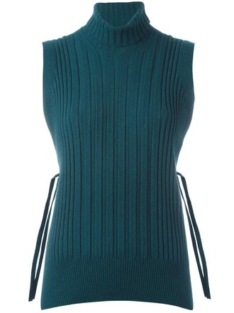 jumper turtleneck sleeveless women wool green sweater