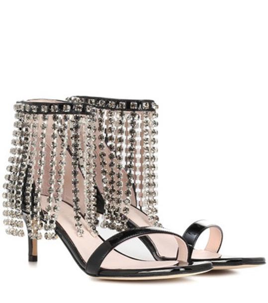 Christopher Kane Crystal Fringe leather sandals in black