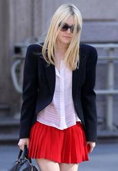 skirt,dakota fanning,actress,red mini skirt,pleated skirt,red skirt,mini skirt,shirt,white shirt,blazer,black blazer,celebrity style,celebrity,round sunglasses,sunglasses