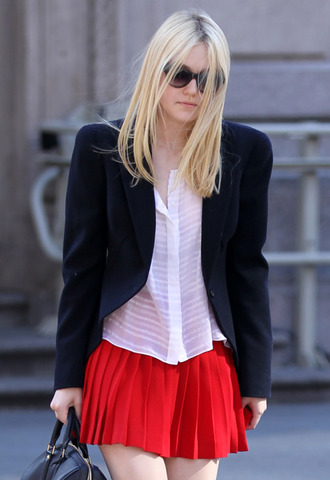 skirt dakota fanning actress red mini skirt pleated skirt red skirt mini skirt shirt white shirt blazer black blazer celebrity style celebrity round sunglasses sunglasses