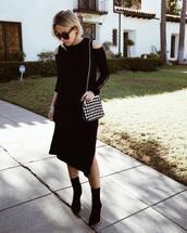 dress,midi dress,cut offs,long sleeve dress,black boots,sock boots,black sunglasses,shoulder bag