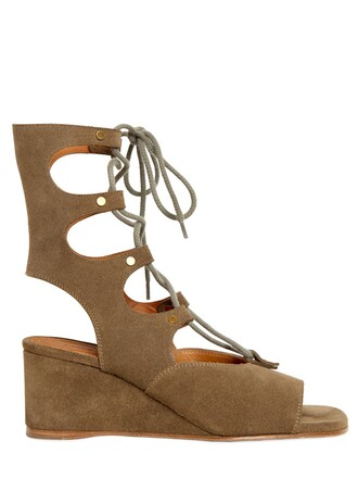 wedges suede green shoes